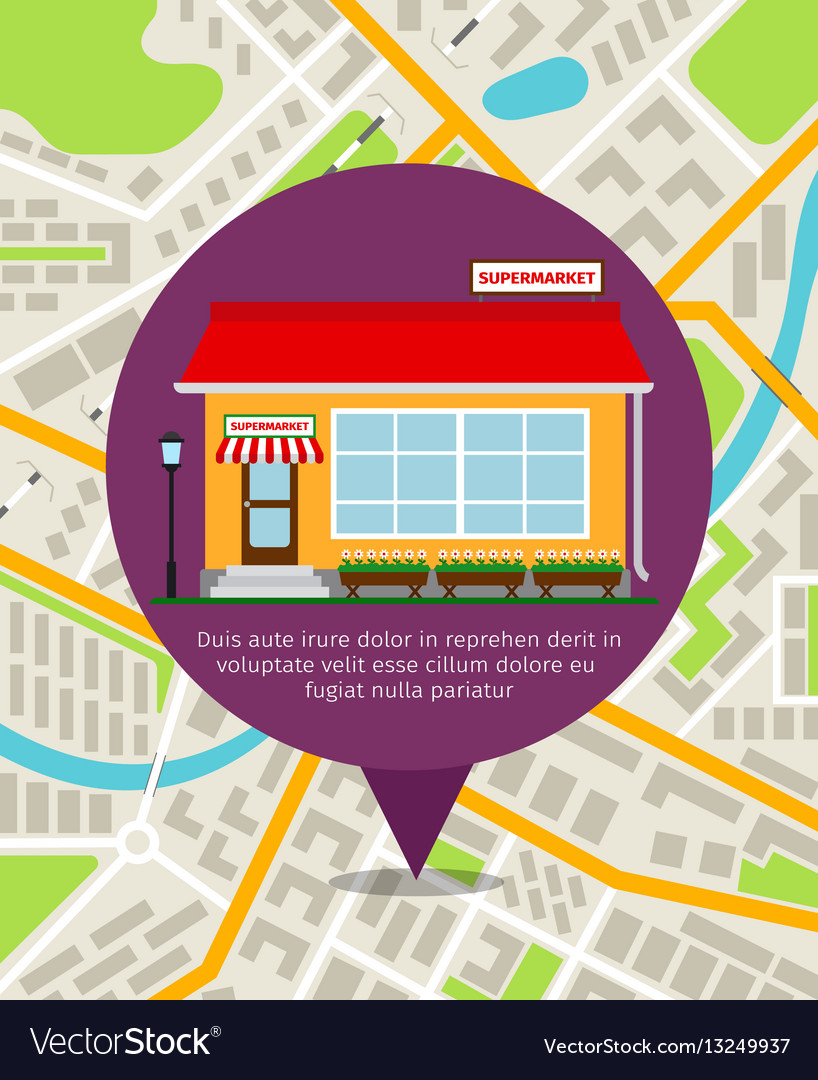 Supermarket location pin on map vector image