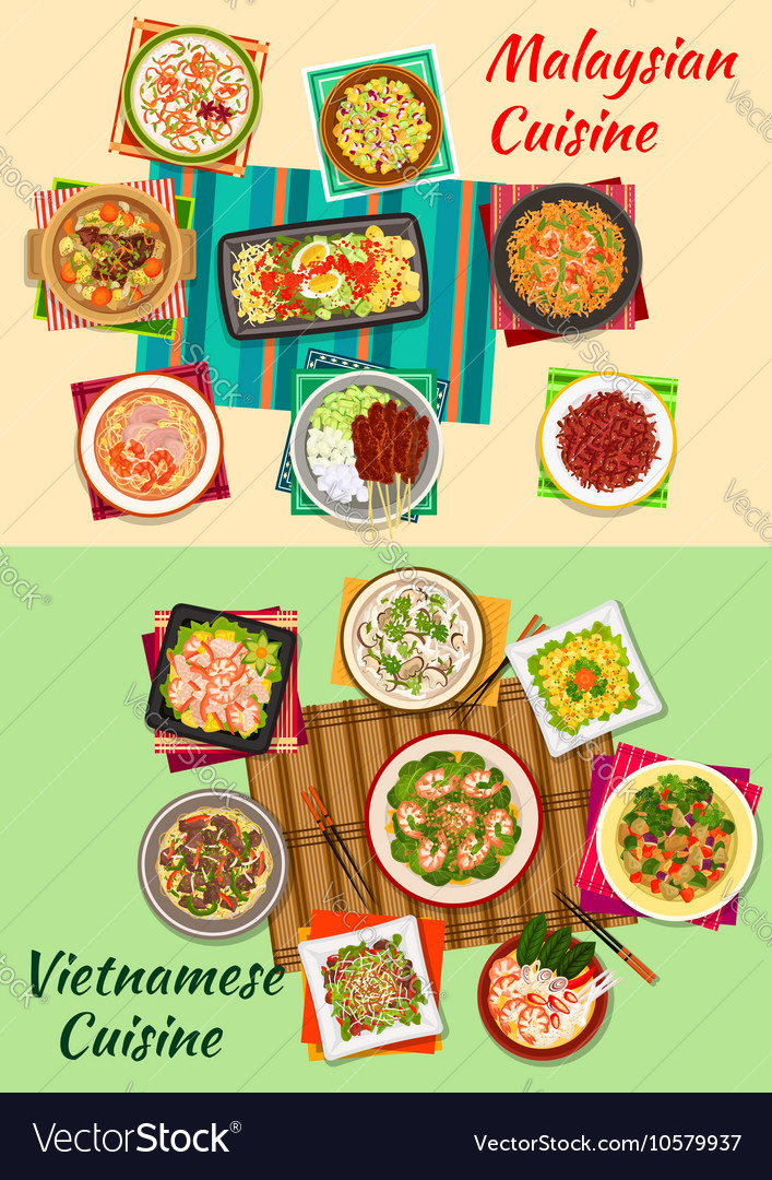 Vietnamese and malaysian cuisine icon vector image
