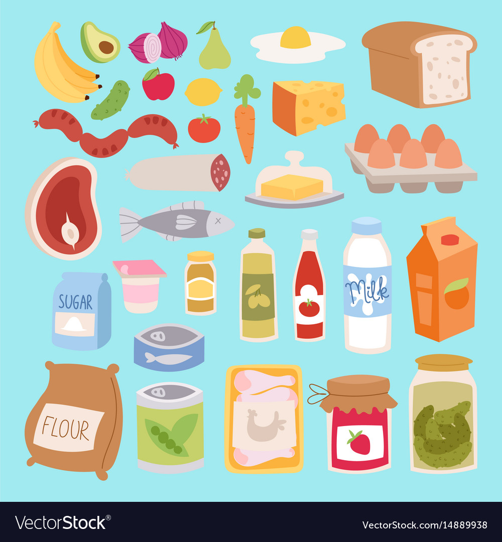 Everyday food icons patchwork vector image