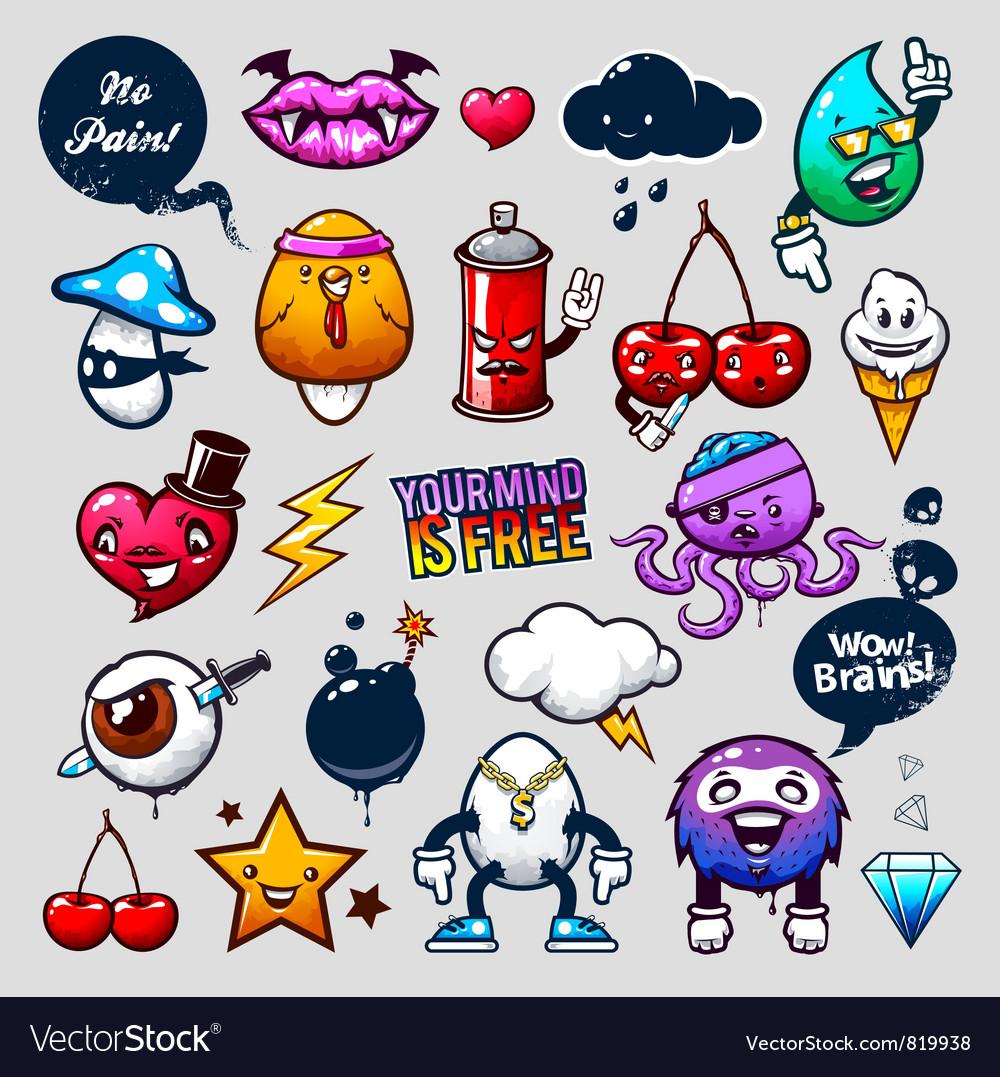 Graffiti Bizarre Characters vector image