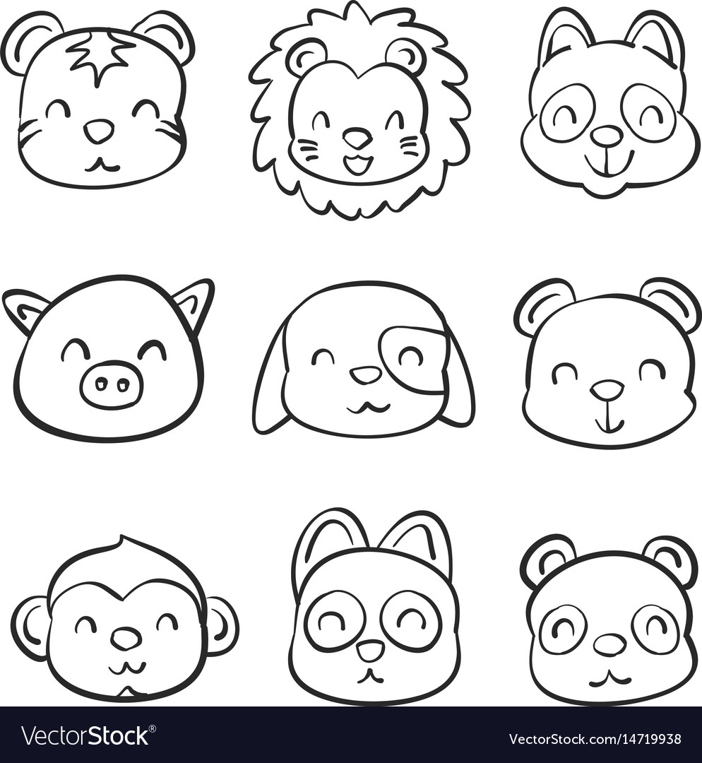Hand draw of animal head style vector image