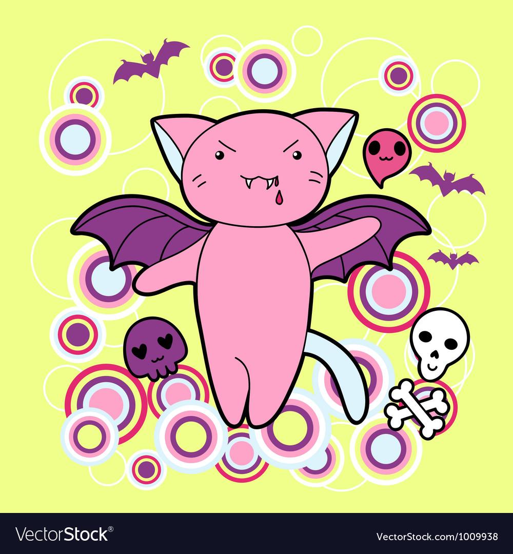 Kawaii Halloween cat and creatures Royalty Free Vector Image