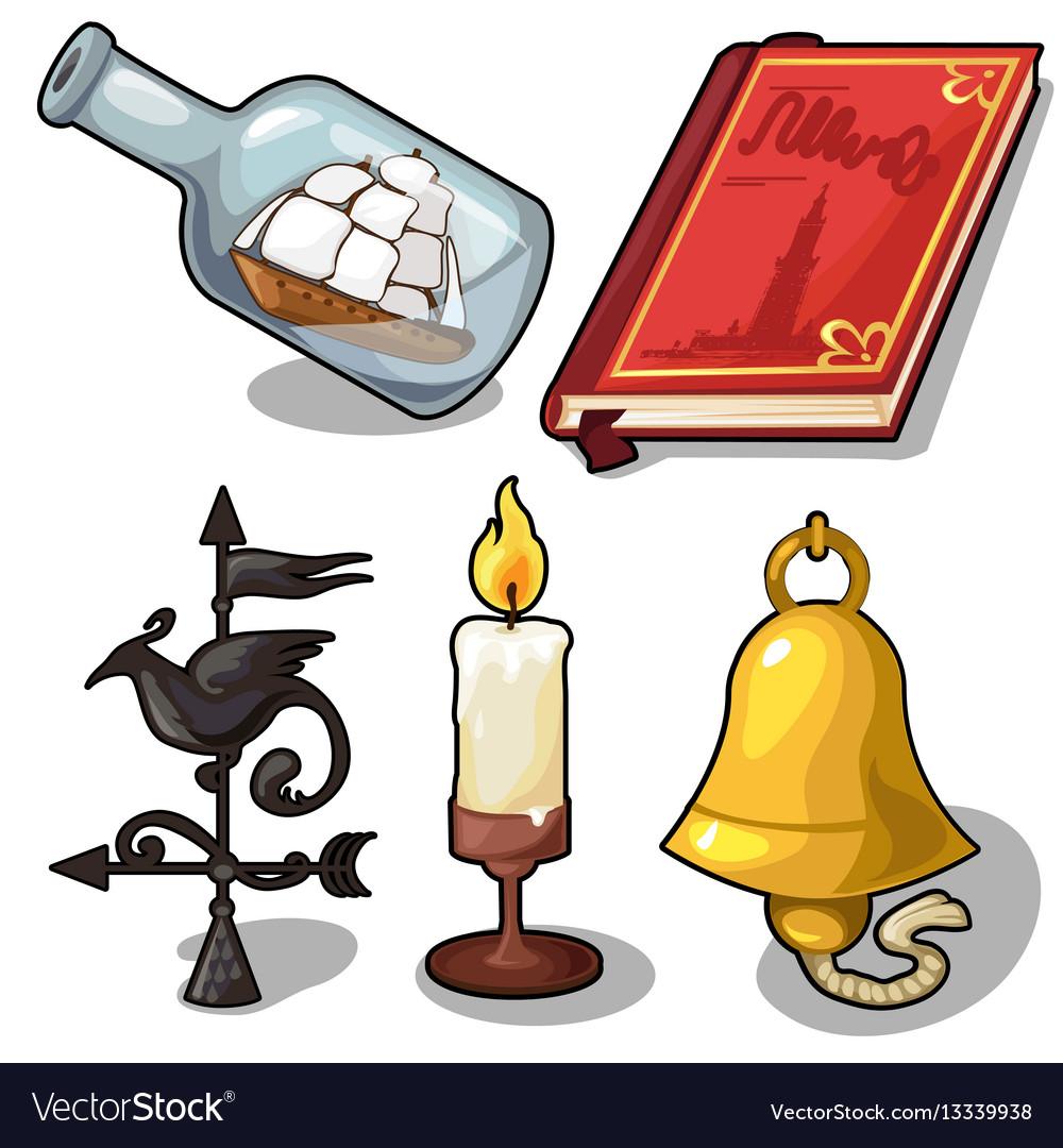 Set of book bell candle compass ship vector image