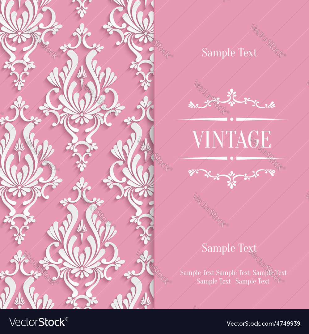 Pink 3d vintage invitation card template vector image pink 3d vintage invitation card template vector image stopboris Images