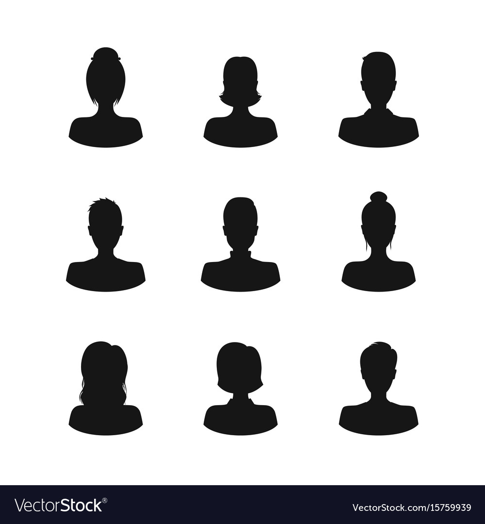 Silhouette black avatars people man and woman icon vector image