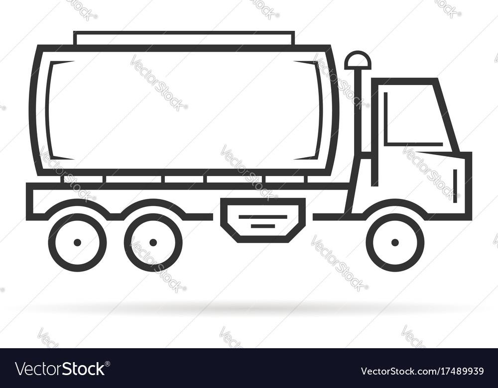 Thin line tank vehicle shall vector image