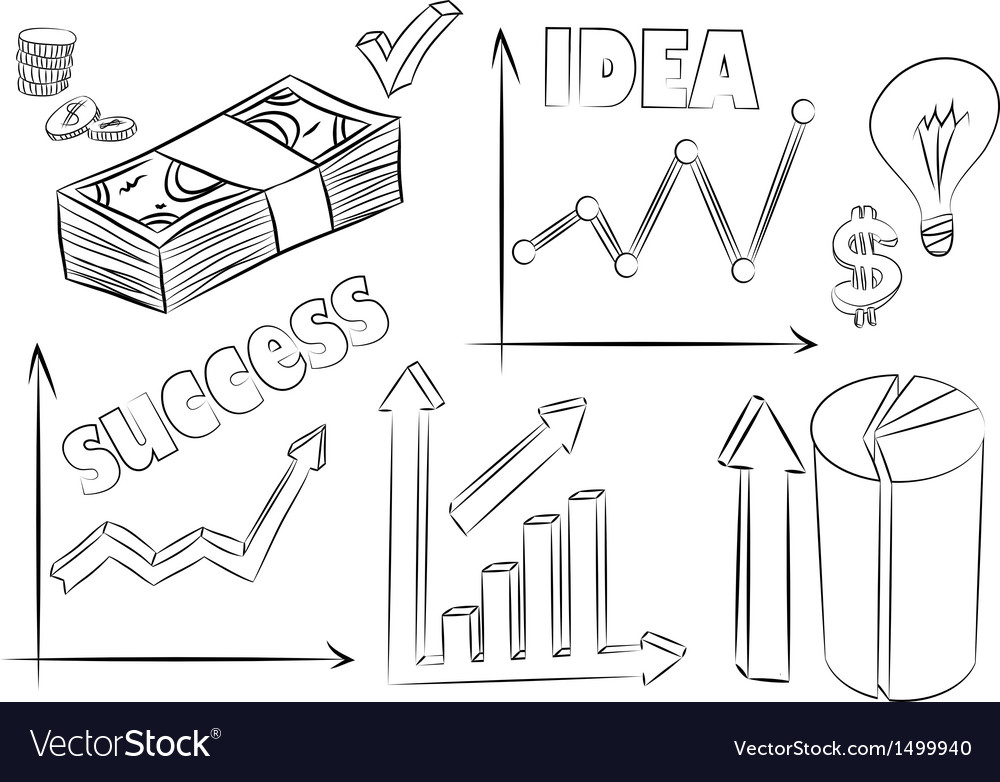 Set of business sketches vector image