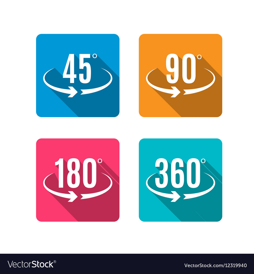 Angle degrees flat icons design Arrows rotation vector image