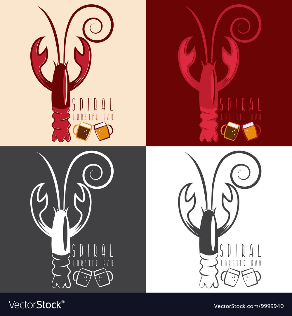 Spiral lobster bar with beer design template vector image