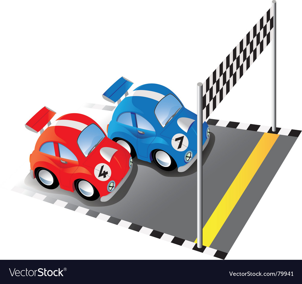 Cartoon Racing Cars Royalty Free Vector Image Vectorstock