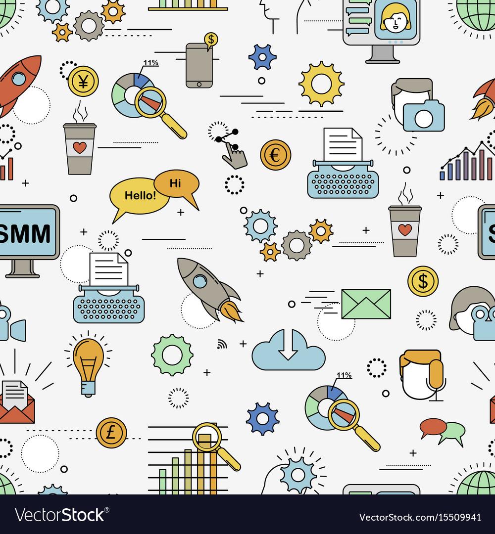 Social media marketing pattern vector image