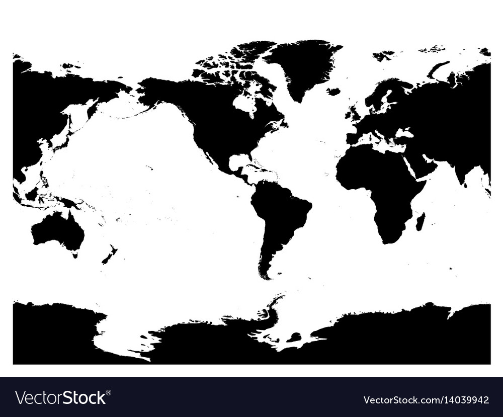 America centered world map high detail black vector image gumiabroncs Image collections