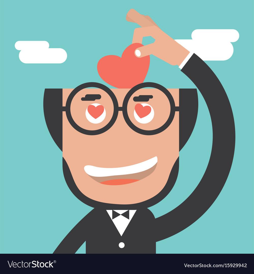 Businessman keeps heart in bald head vector image