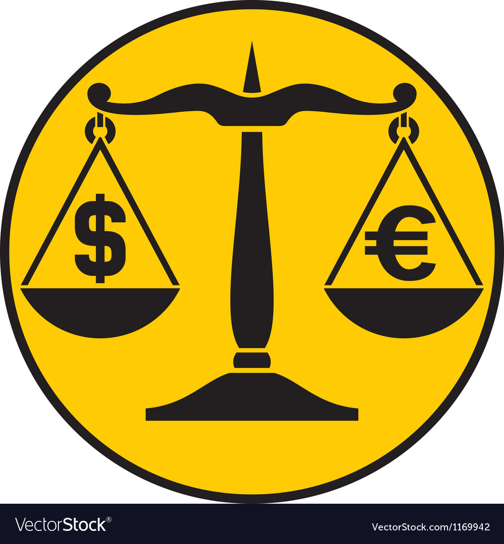 Dollar and euro on the balance vector image