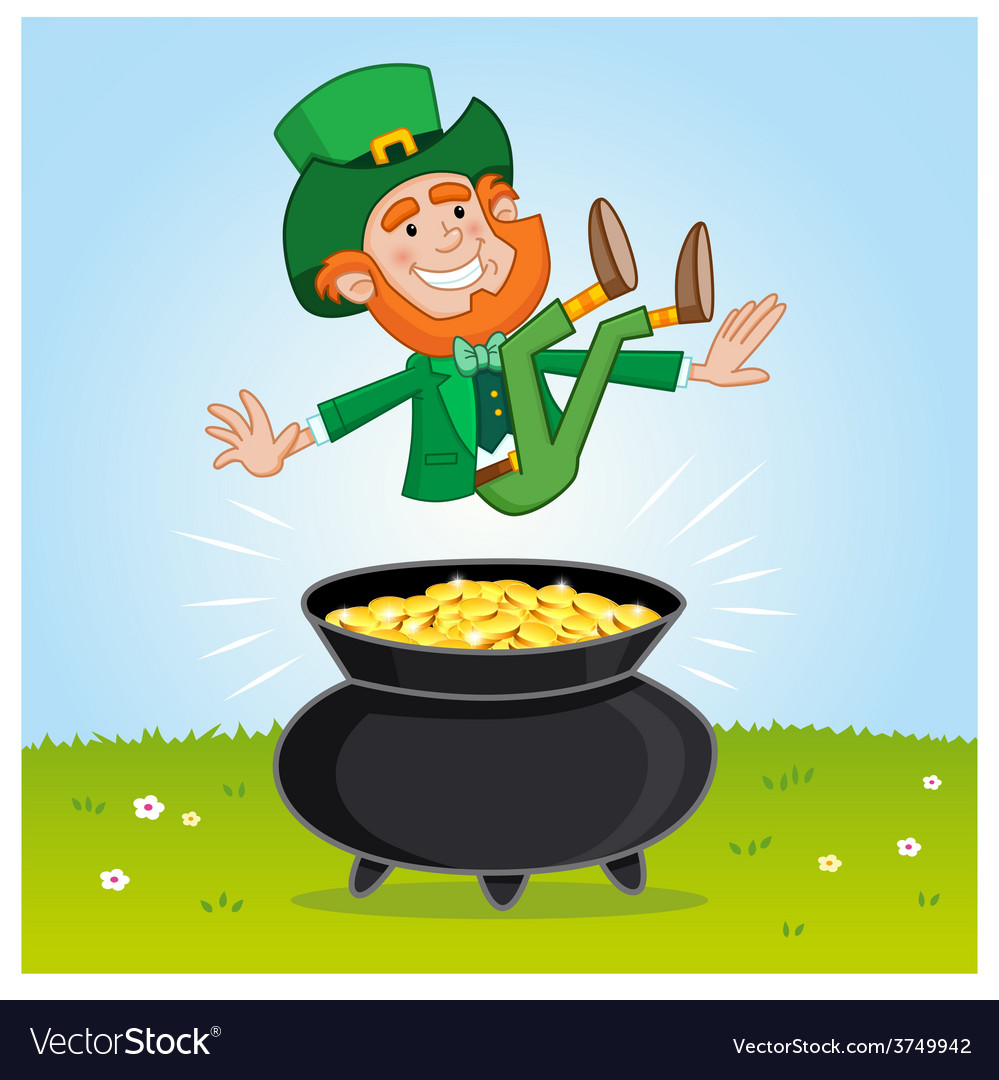 leprechaun and his pot of gold royalty free vector imageleprechaun and his pot of gold vector image