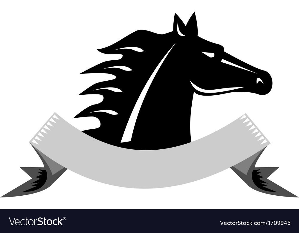 Angry Horse Head Side Retro vector image