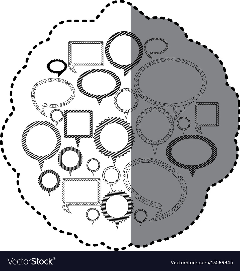 Grayscale silhouette adhesive with speech bubble vector image