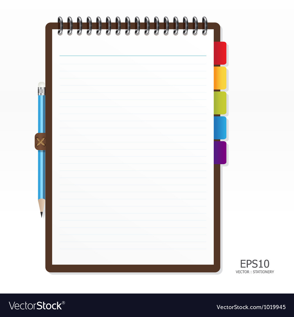 Note paper with pencil vector image