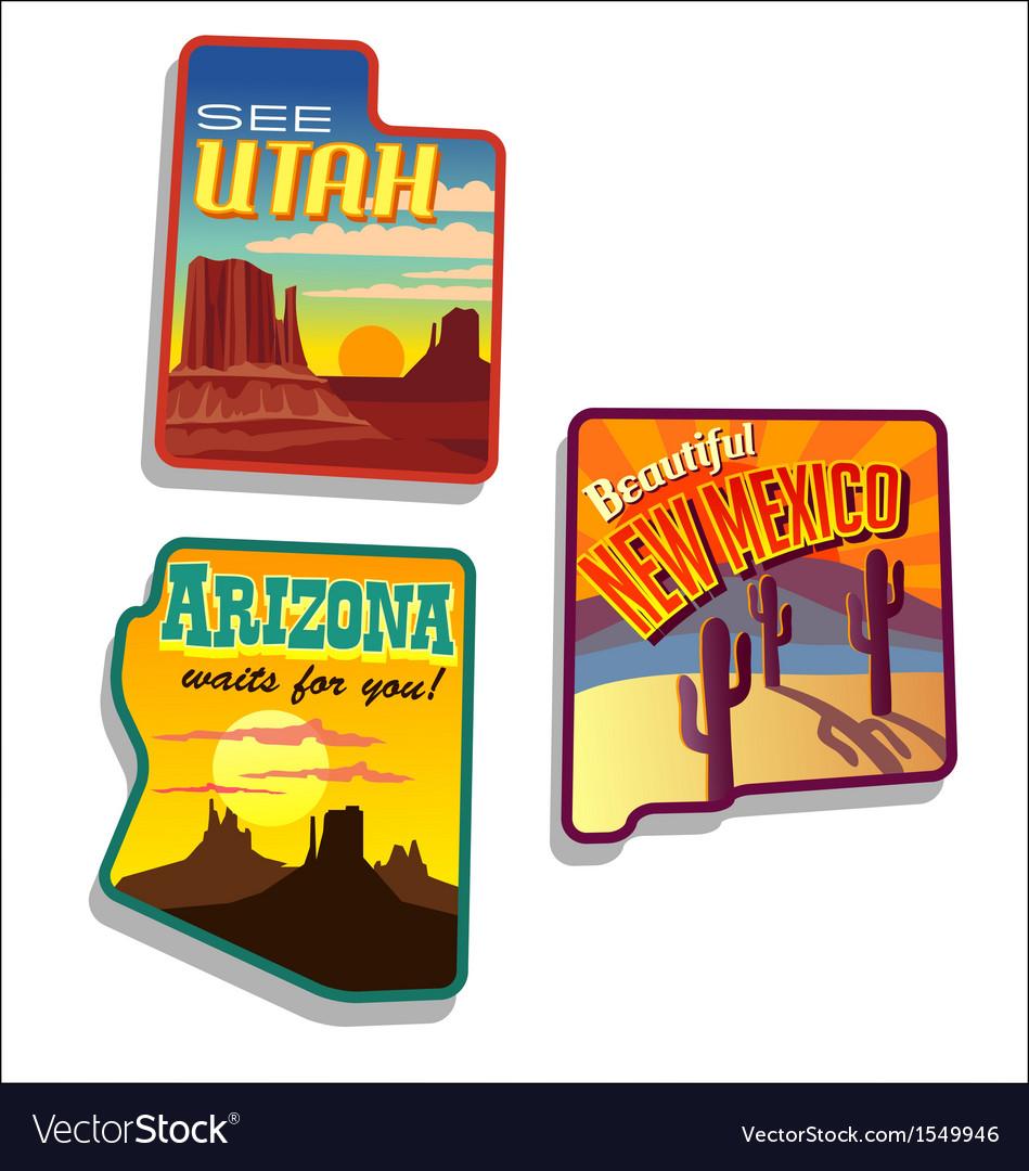 Arizona New Mexico Utah retro vector image