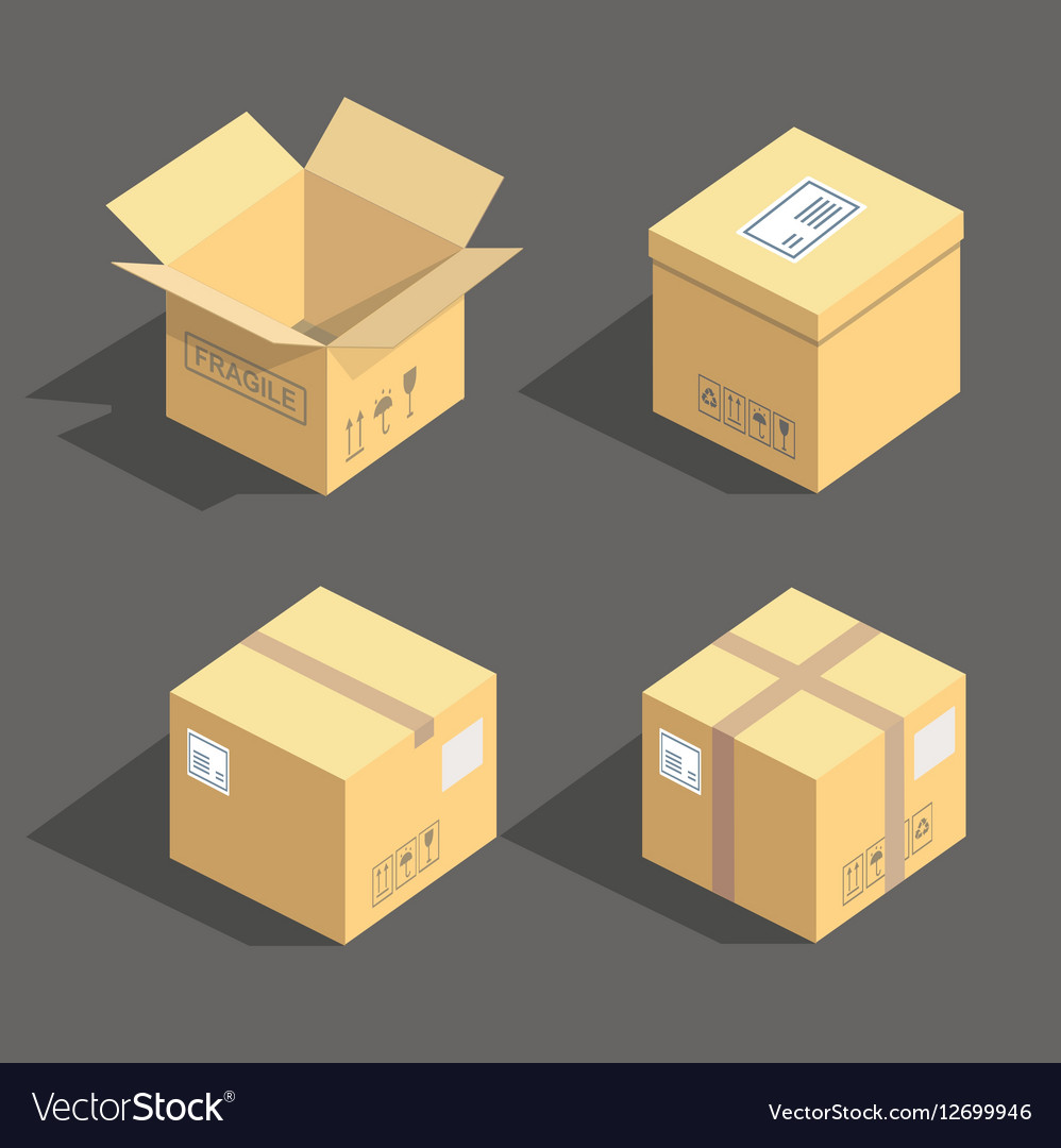 Isometric cardboard boxes packaging icons vector image