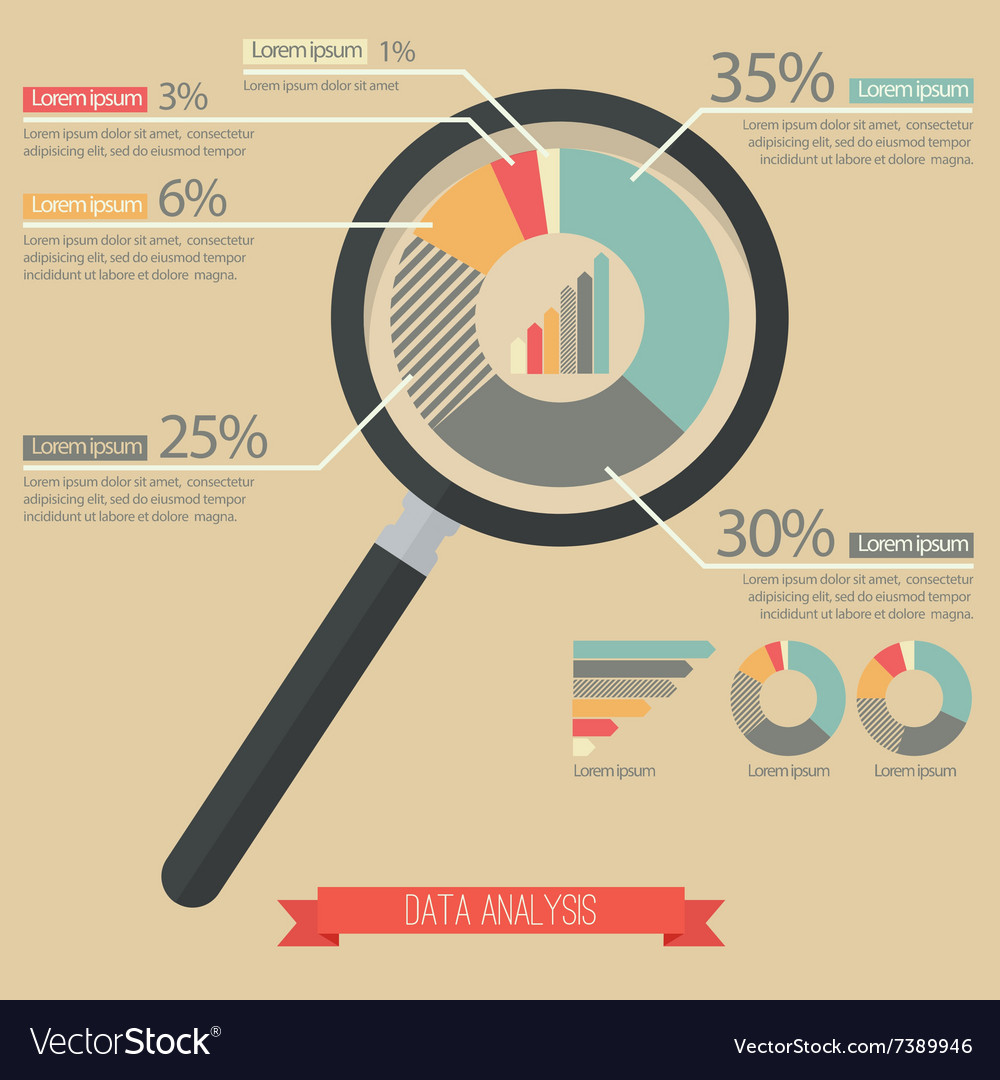 Magnifying glass and pie chart infographic vector image nvjuhfo Choice Image
