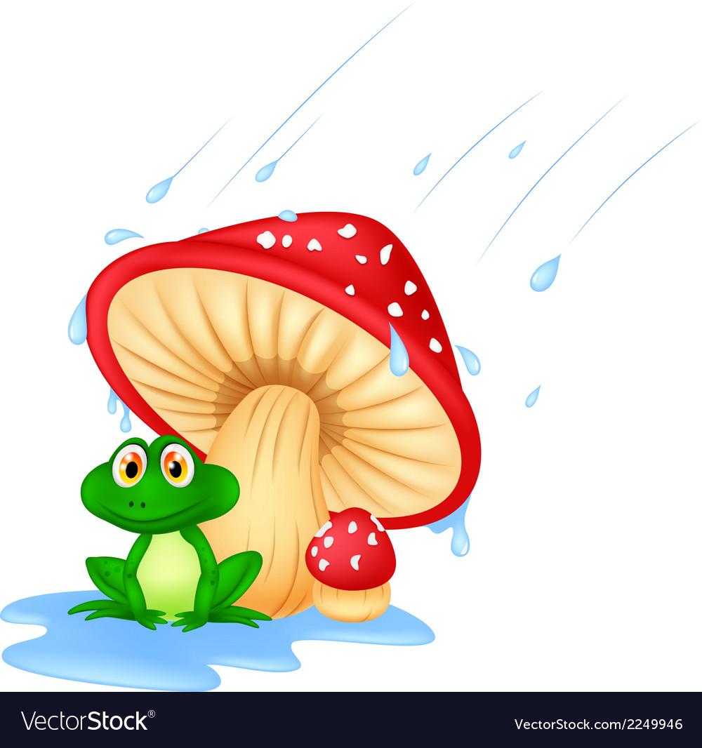 Mushroom with a toad cartoon vector image