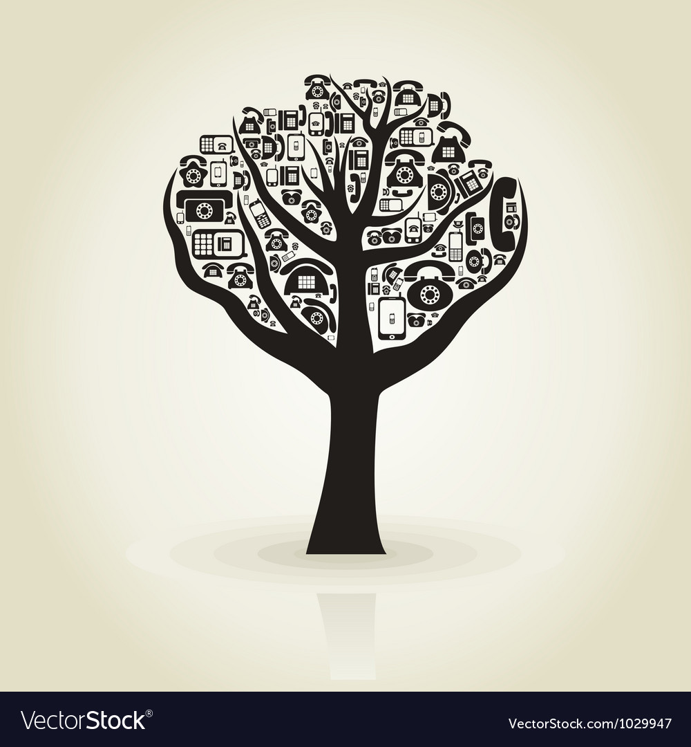 Tree phone vector image