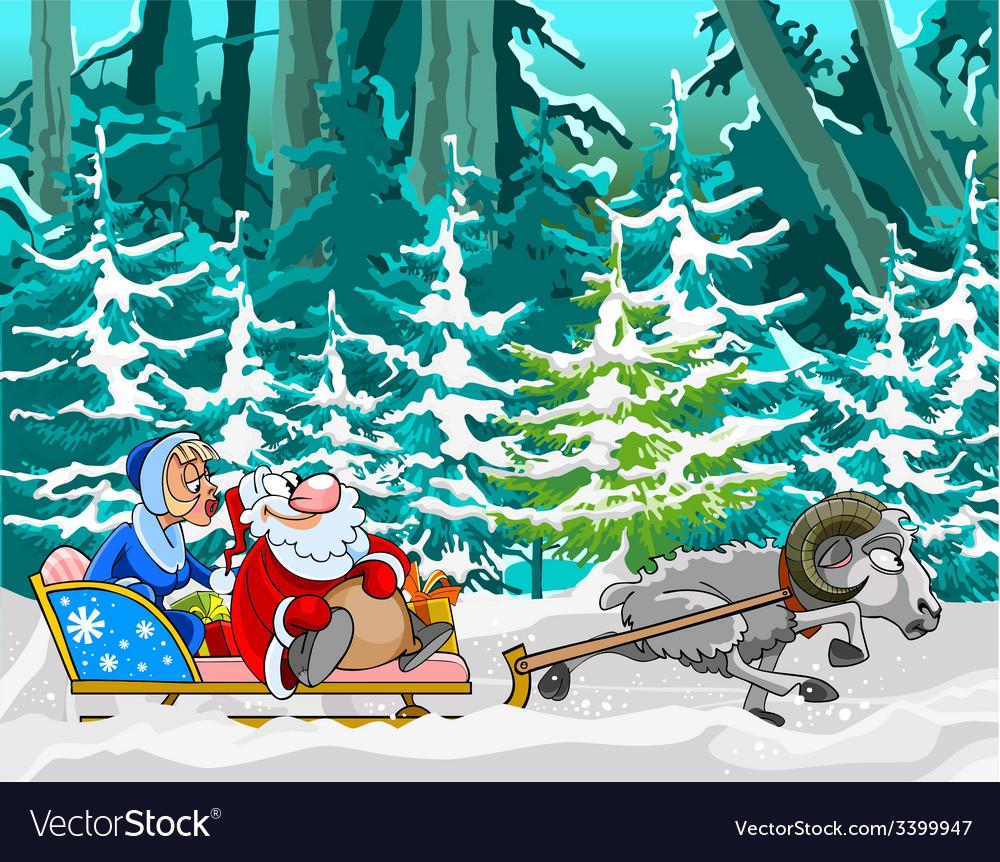 Cartoon sheep driven in a sleigh of Santa Claus vector image