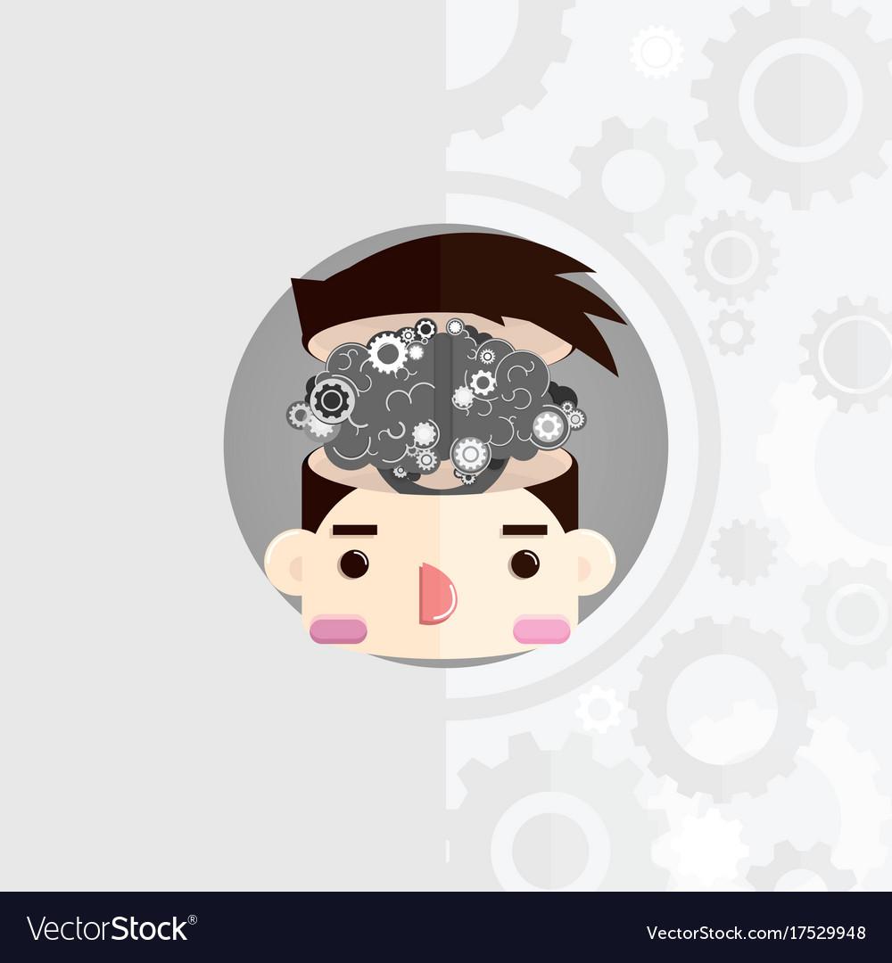 Head with cog brain vector image