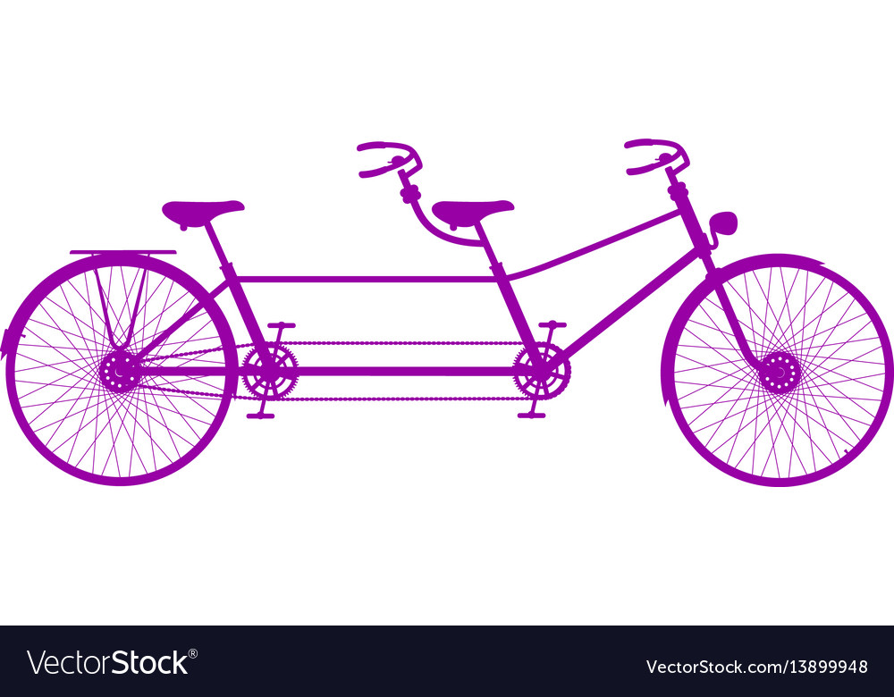 Retro tandem bicycle in purple design vector image