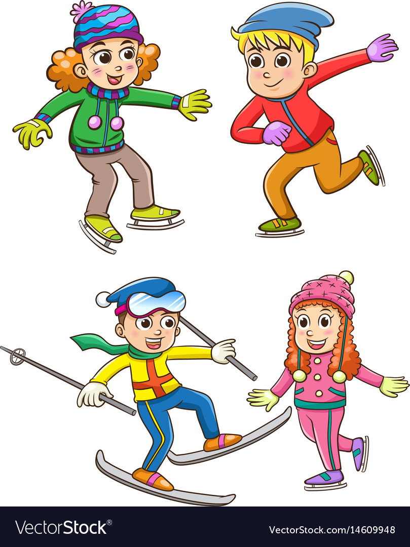 Set of children playing in the winter vector image