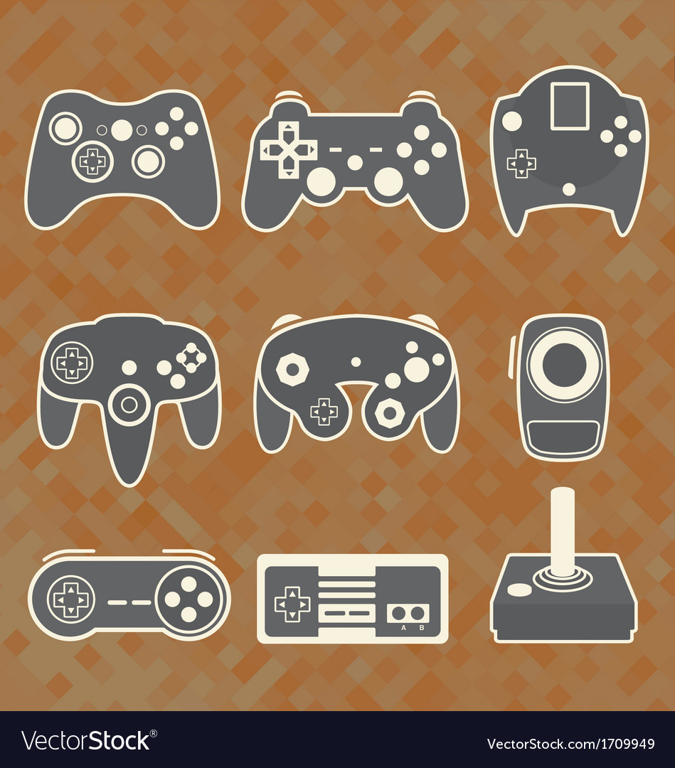 Retro Video Game Controllers vector image