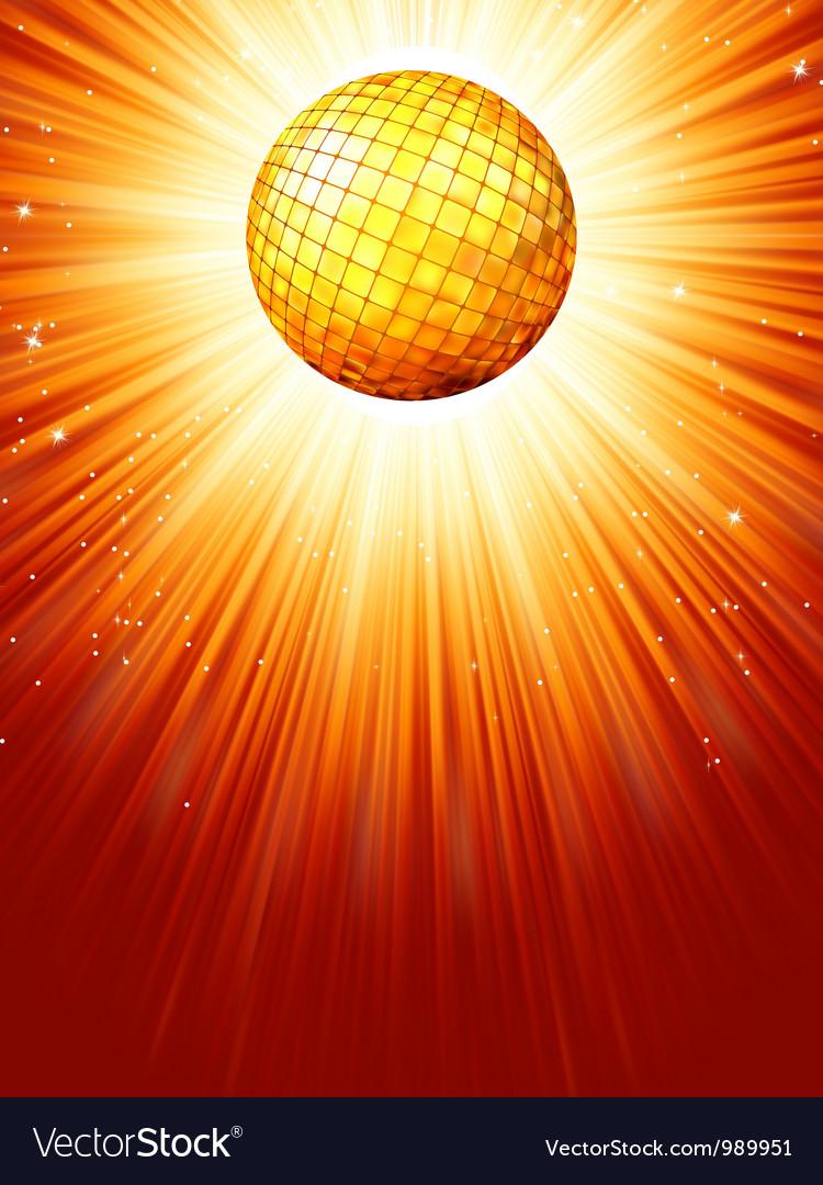 Sparkling orange red disco ball EPS 8 vector image