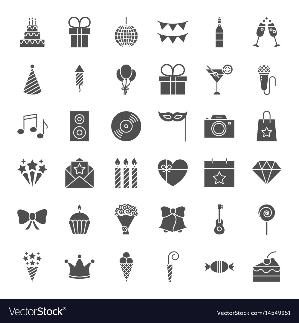 Birthday solid web icons vector image