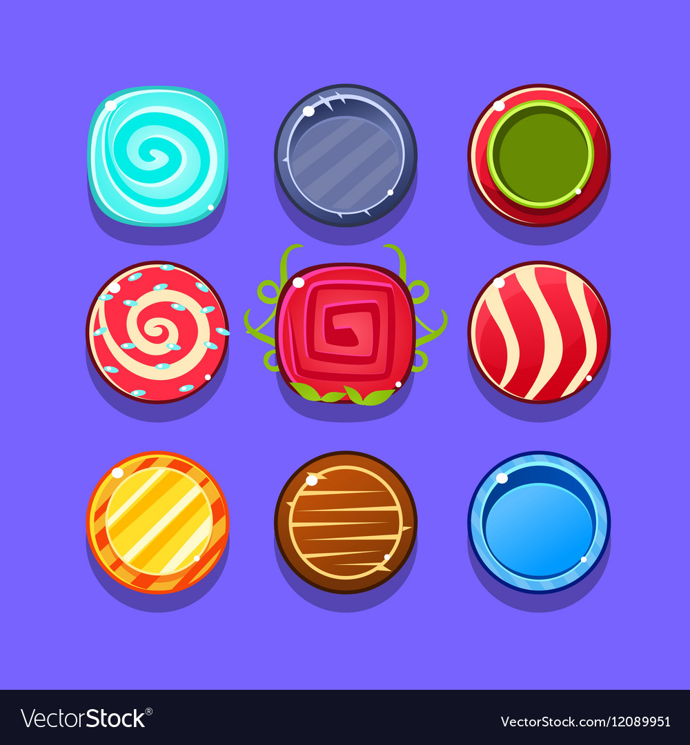 Colorful Hard Candy Flash Game Element Templates vector image