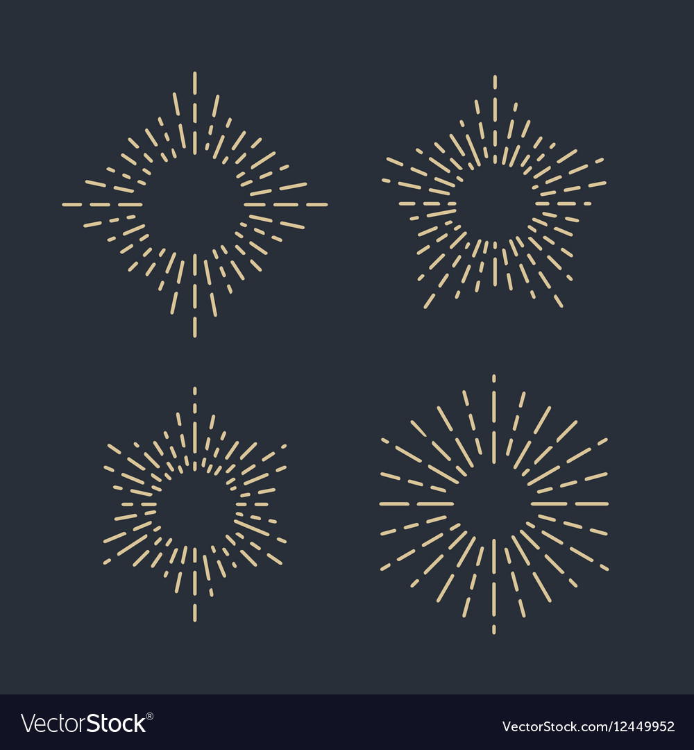 Set of Vintage Sunbursts in Different Shapes vector image