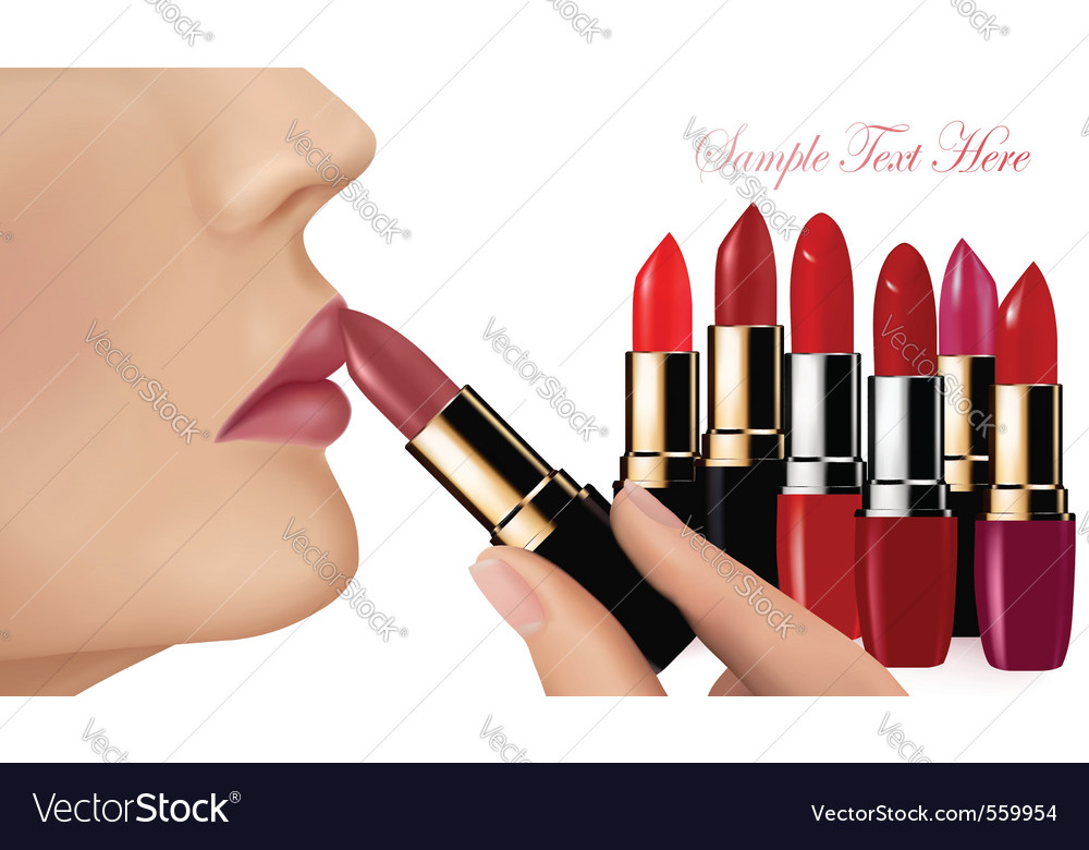Lipsticks and happy female lips vector image