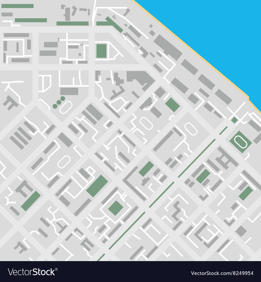Flat City Map Unmarked Royalty Free Vector Image - Unmarked map
