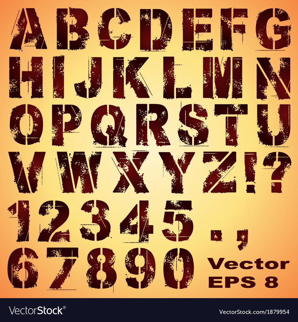 Stencil Letters and Numbers vector image