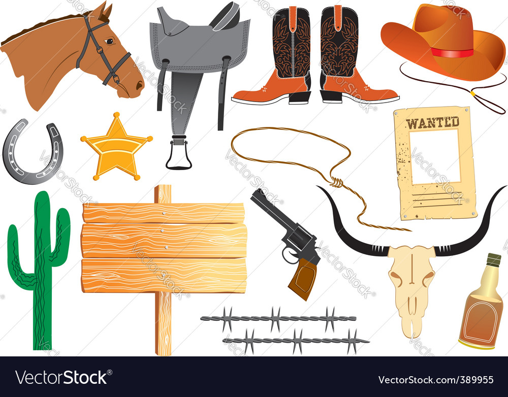 Cowboy elements vector image