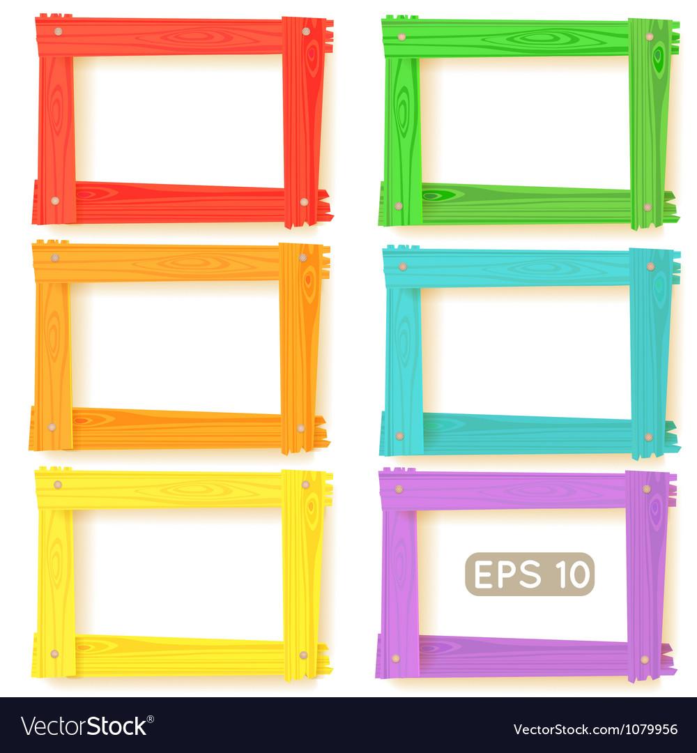 Wooden picture frames color set vector image