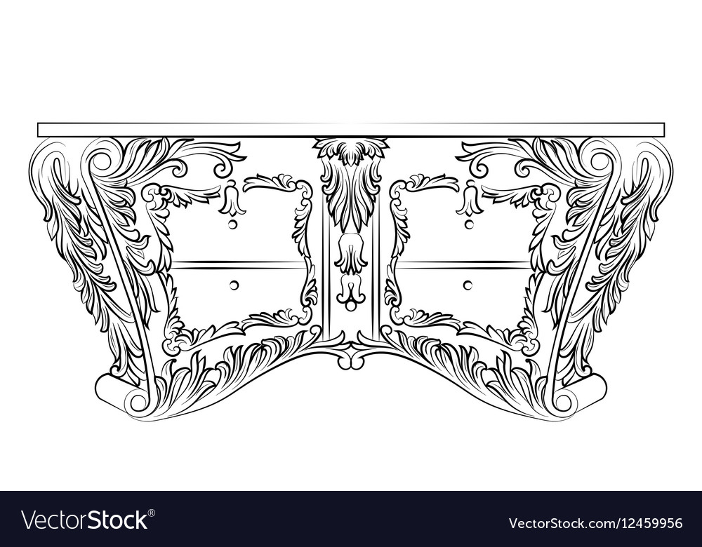 Rich Baroque commode Table with drawers vector image