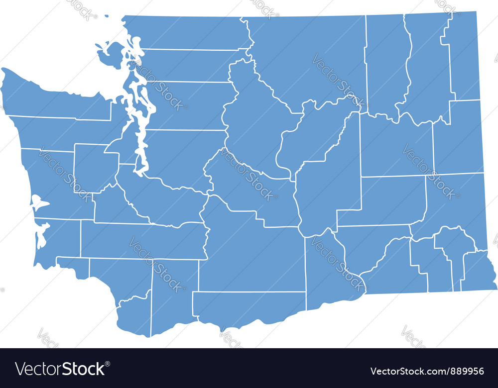 State Map Of Washington By Counties Royalty Free Vector - Washinton state map