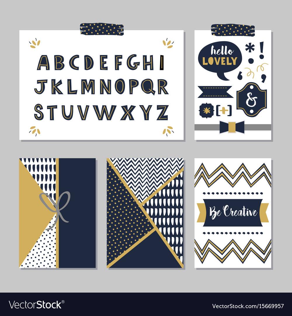 Navy blue alphabets and design elements set vector image