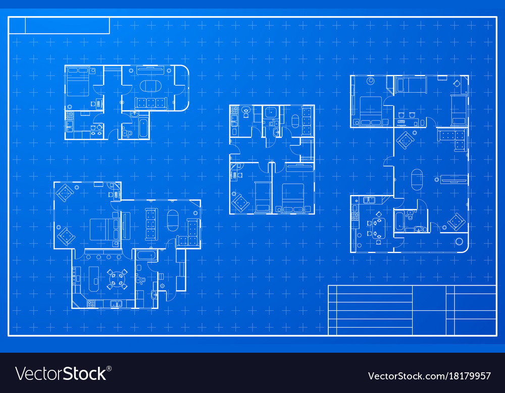 Set of different blueprint house plans Royalty Free Vector