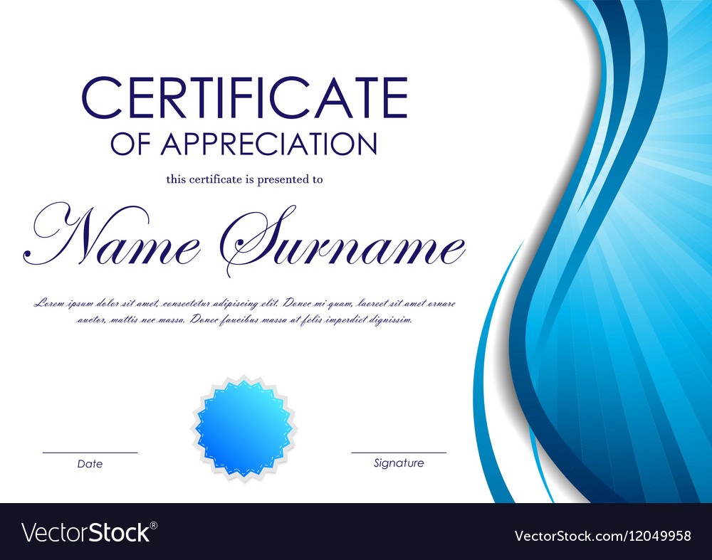 Certificate of appreciation template royalty free vector certificate of appreciation template vector image alramifo Image collections