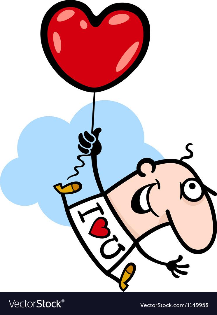 Man wit valentine hearth balloon cartoon vector image