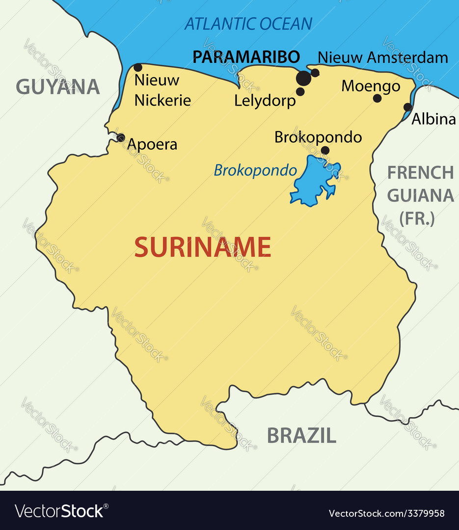 Republic Of Suriname Map Royalty Free Vector Image - paramaribo map
