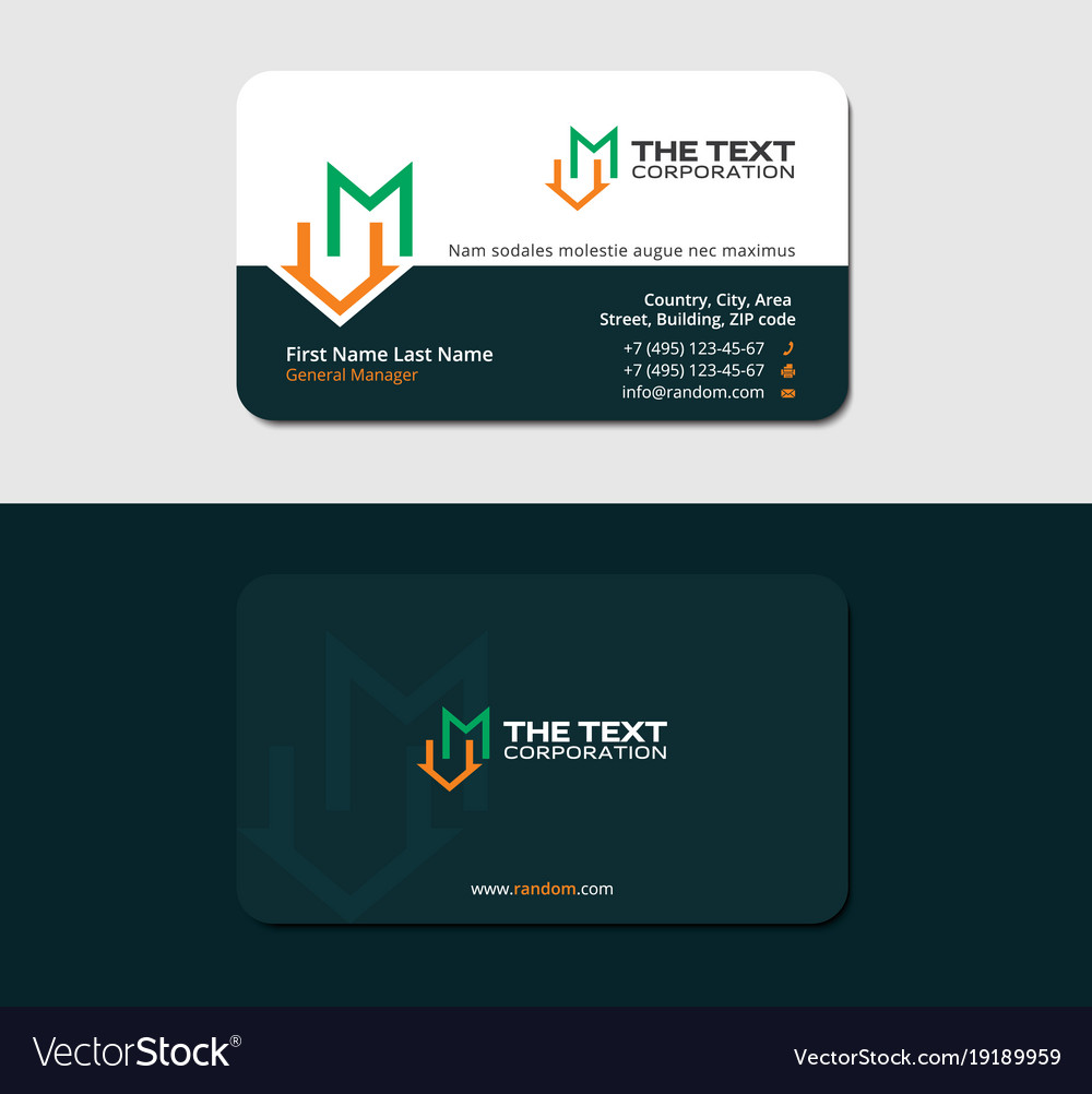 Dark green business card with letter m and roof Vector Image
