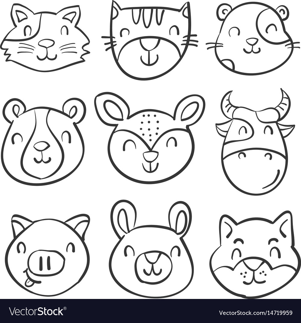 Hand draw animal head style doodles vector image